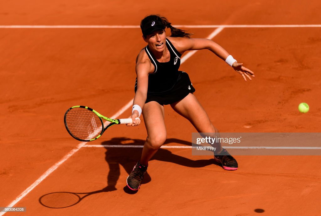Johanna Konta of Great Britain hits a forehand against Yulia Putintseva of Kazakhstan in the first round of the French Open at Roland Garros on May 27, 2018 in Paris, France.