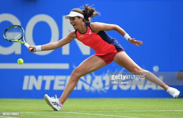 Johanna Konta of Great Britain hits a forehand during the ladies singles round of 16 match against Jelena Ostapenko of Latvia on day five of the...