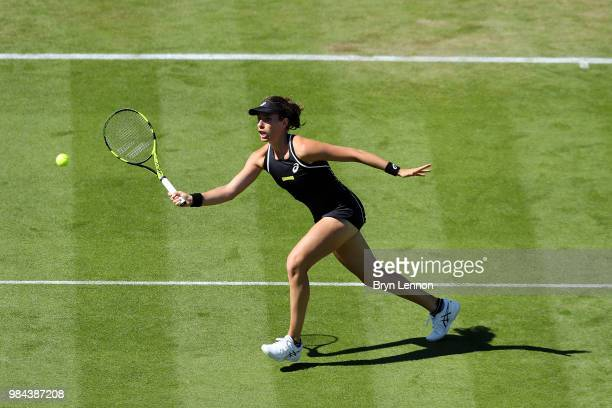 Johanna Konta of Great Britain in action against Aleksandra Krunic of Serbia during day five of the Nature Valley International at Devonshire Park on...