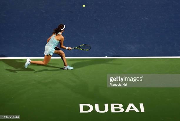 Johanna Konta of Great Britain in action against Anastasia Pavlyuchenkova of Russiaduring day one of the WTA Dubai Duty Free Tennis Championship at...