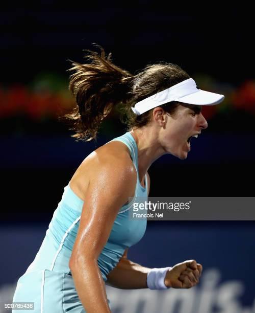 Johanna Konta of Great Britain in action against Anastasia Pavlyuchenkova of Russia during day one of the WTA Dubai Duty Free Tennis Championship at...