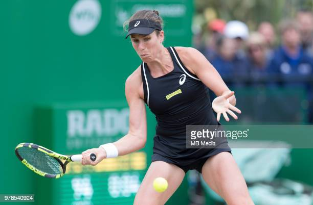 Johanna Konta of Great Britain in action against Ashleigh Barty of Australia during Day Nine of the Nature Valley Open at Nottingham Tennis Centre on...