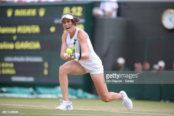 Johanna Konta of Great Britain in action against Caroline Garcia of France in the Ladies' Singles round of 16 on NO1 Court during the Wimbledon Lawn...