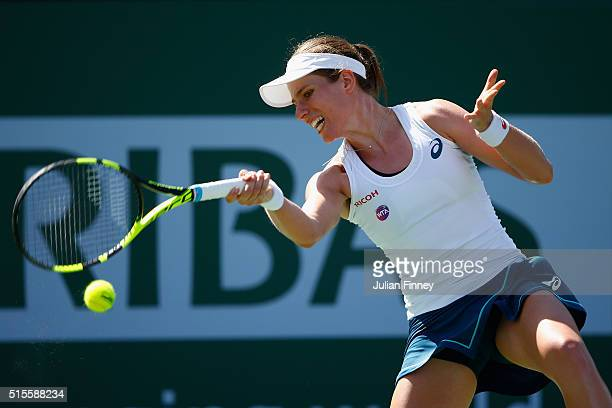 Johanna Konta of Great Britain in action against Denisa Allertova of Czech Republic during day eight of the BNP Paribas Open at Indian Wells Tennis...