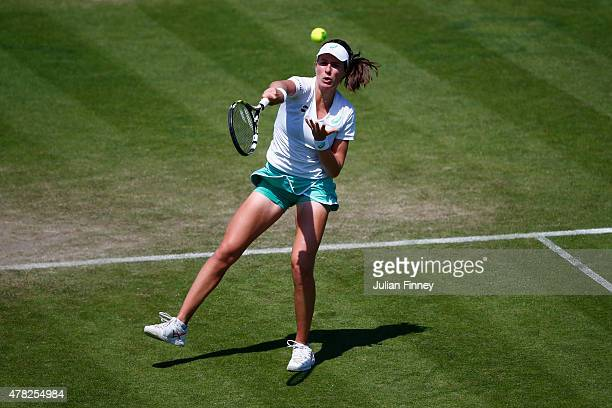 Johanna Konta of Great Britain in action against Garbine Muguruza of Spain during the Aegon International day four at Devonshire Park on June 24 2015...