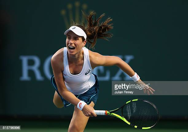 Johanna Konta of Great Britain in action against Karolina Pliskova of Czech Republic celebrates defeating during day nine of the BNP Paribas Open at...
