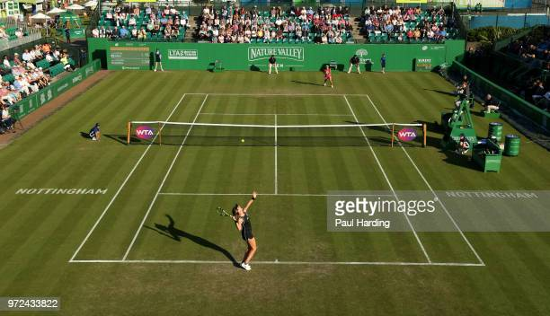 Johanna Konta of Great Britain in action against Kurumi Nara of Japan on centre court during day four of the Nature Valley Open at Nottingham Tennis...