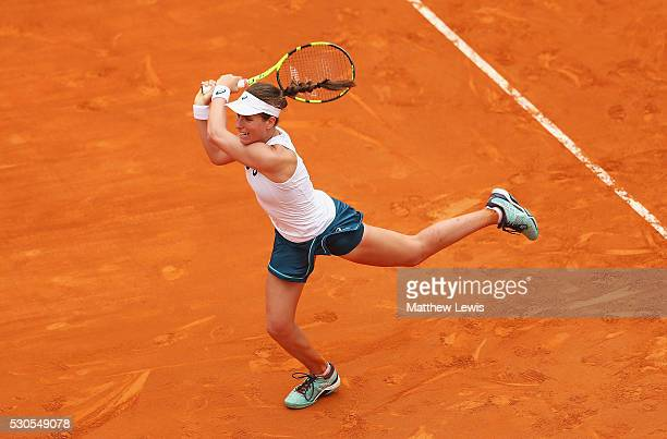 Johanna Konta of Great Britain in action against Roberta Vinci of Italy during day four of the The Internazionali BNL d'Italia 2016 on May 11 2016 in...