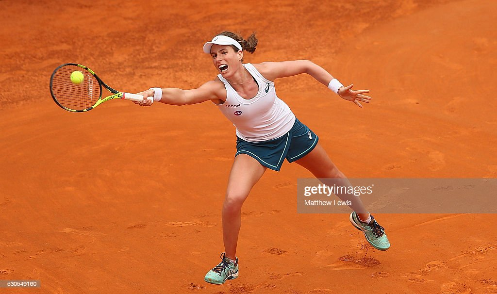 Johanna Konta of Great Britain in action against Roberta Vinci of Italy during day four of the The Internazionali BNL d'Italia 2016 on May 11, 2016 in Rome, Italy.
