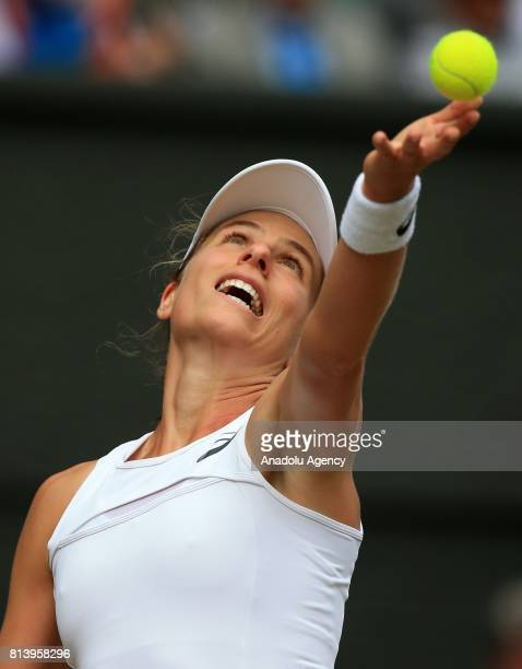 Johanna Konta of Great Britain in action against Venus Williams of USA during the women's semifinal on day ten of the 2017 Wimbledon Championships at...