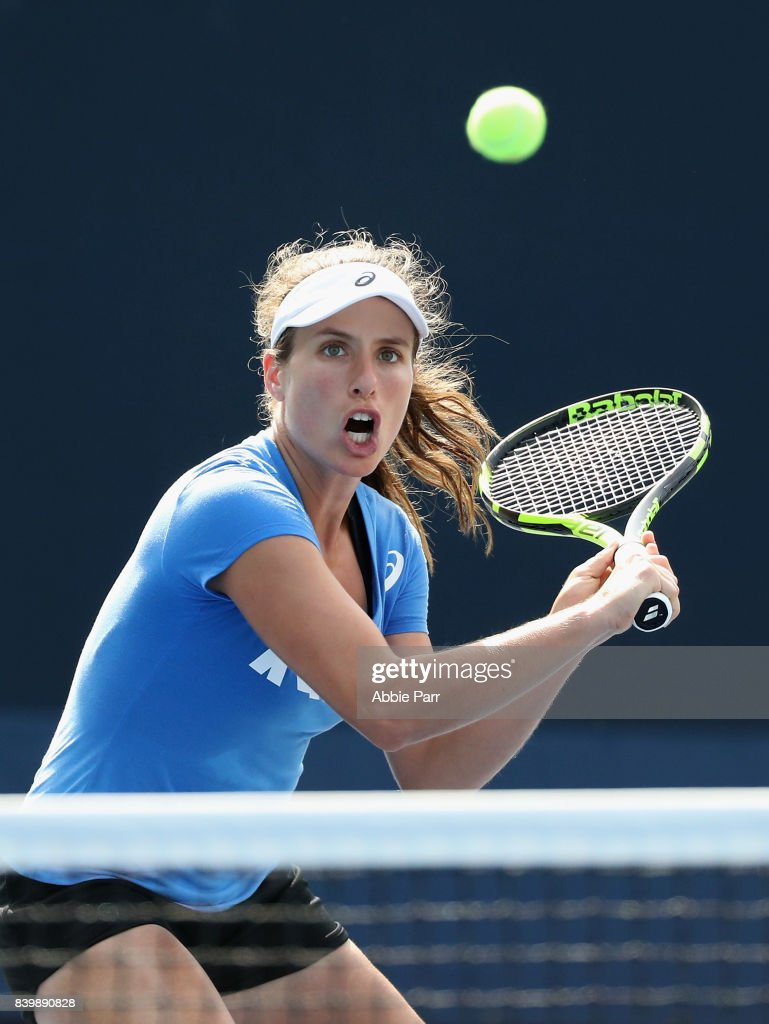 Johanna Konta of Great Britain in action during a practice session prior to the US Open Tennis Championships at USTA Billie Jean King National Tennis Center on August 27, 2017 in New York City.
