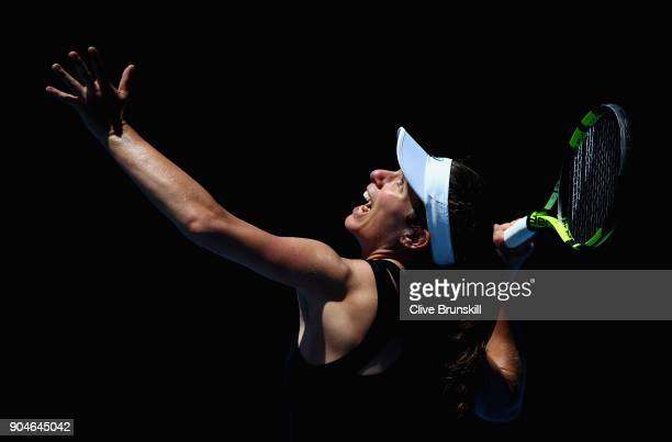 Johanna Konta of Great Britain in action during a practice session ahead of the 2018 Australian Open at Melbourne Park on January 14 2018 in...