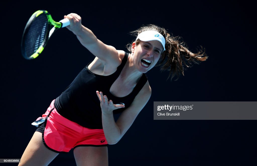 Johanna Konta of Great Britain in action during a practice session ahead of the 2018 Australian Open at Melbourne Park on January 14, 2018 in Melbourne, Australia.