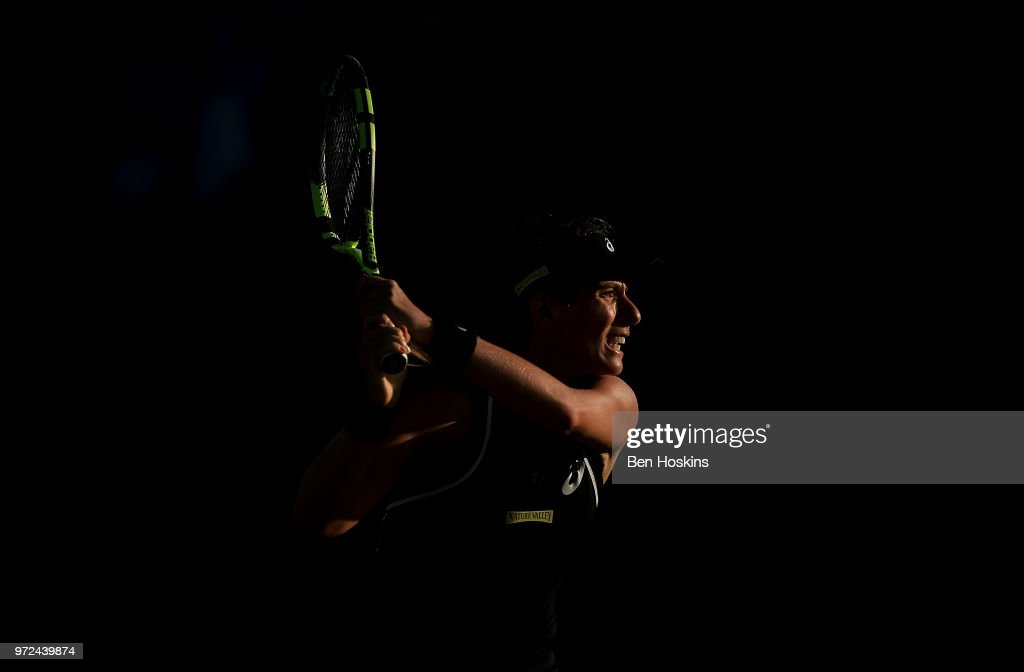 Johanna Konta of Great Britain in action during her first round match against Kurumi Nara of Japan on Day Four of the Nature Valley Open at Nottingham Tennis Centre on June 12, 2018 in Nottingham, United Kingdom.