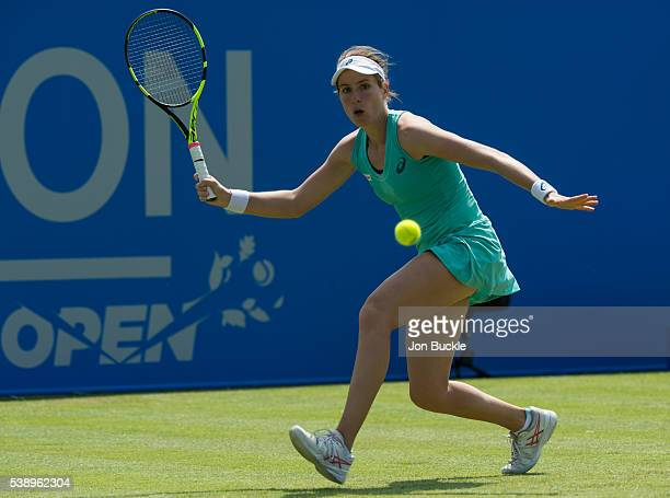 Johanna Konta of Great Britain in action during her match against Saisai Zheng of China on day four of the WTA Aegon Open on June 9 2016 in...