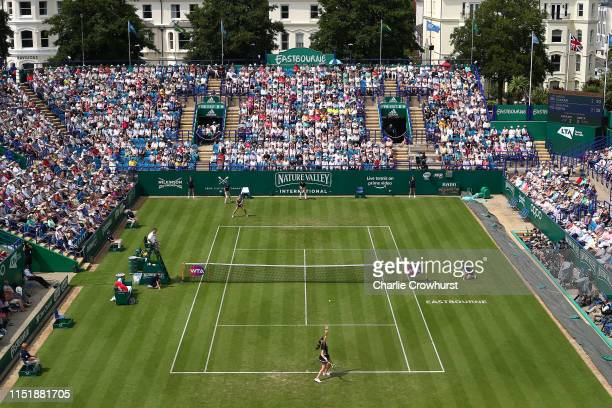 Johanna Konta of Great Britain in action during her womens singles match against Maria Sakkari of Greece during day two of the Nature Valley...
