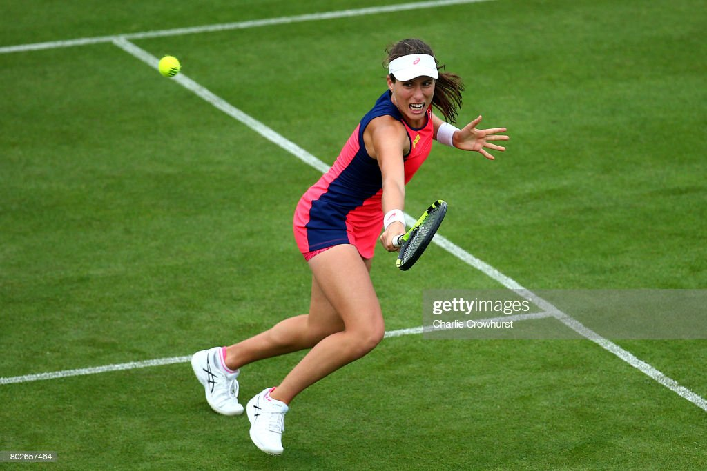 Johanna Konta of Great Britain in action during her women's singles match against Sorana Cirstea of Romania during day four of the Aegon International Eastbourne on June 28, 2017 in Eastbourne, England.