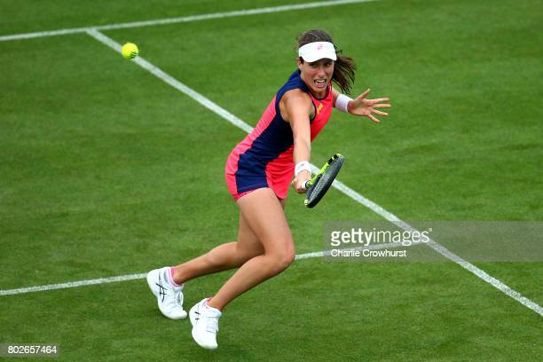 Johanna Konta of Great Britain in action during her women's singles match against Sorana Cirstea of Romania during day four of the Aegon...
