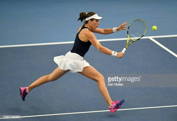 Johanna Konta of Great Britain in action during the Europe/Africa Group A match against Anna Bondar of Hungary during Day Three of the Fed Cup 2019...