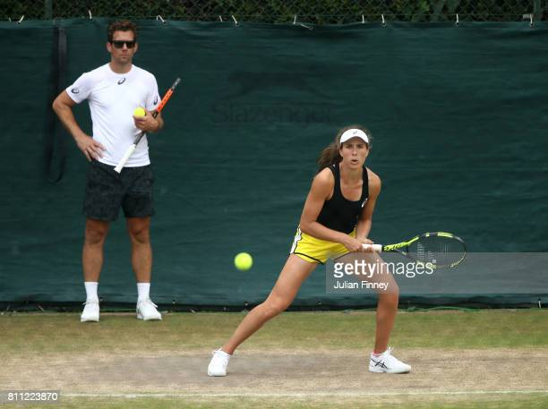 Johanna Konta of Great Britain in action in her training session whilst coach Wim Fassette looks on at Wimbledon on July 9 2017 in London England