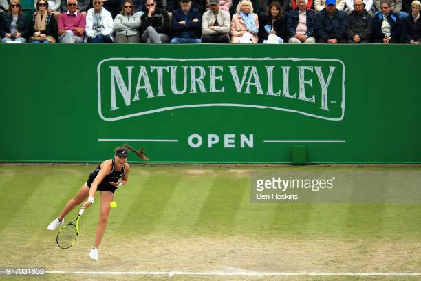 Johanna Konta of Great Britain in action in the Womens Singles Final during Day Nine of the Nature Valley Open at Nottingham Tennis Centre on June 17...