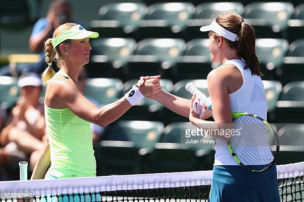 Johanna Konta of Great Britain is congratulated by Denisa Allertova of Czech Republic after her straight sets win during day eight of the BNP Paribas...