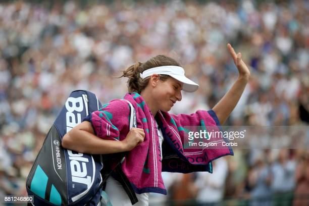 Johanna Konta of Great Britain leaves the court after her victory against Caroline Garcia of France in the Ladies' Singles round of 16 on NO1 Court...