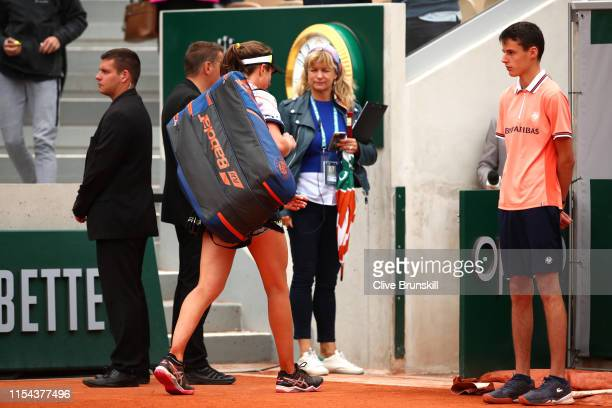 Johanna Konta of Great Britain leaves the court following defeat during her ladies singles semifinal match against Marketa Vondrousova of The Czech...