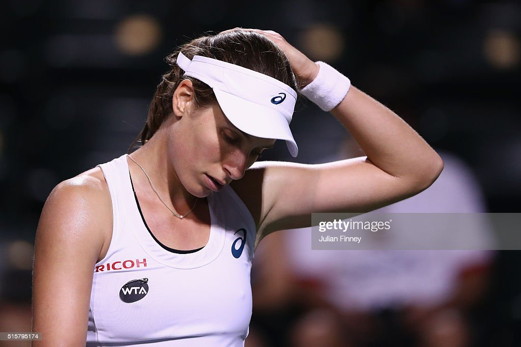 Johanna Konta of Great Britain looks down in her match against Karolina Pliskova of Czech Republic celebrates defeating during day nine of the BNP Paribas Open at Indian Wells Tennis Garden on March 15, 2016 in Indian Wells, California.