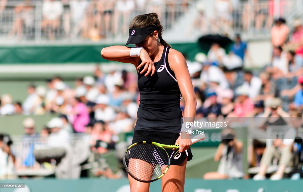 Johanna Konta of Great Britain looks frustrated against Yulia Putintseva of Kazakhstan in the first round of the French Open at Roland Garros on May 27, 2018 in Paris, France.