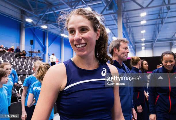 Johanna Konta of Great Britain looks on ahead of the Europe/Africa Promotional PlayOff Semi Final match of the Fed Cup by BNP Paribas on February 10...