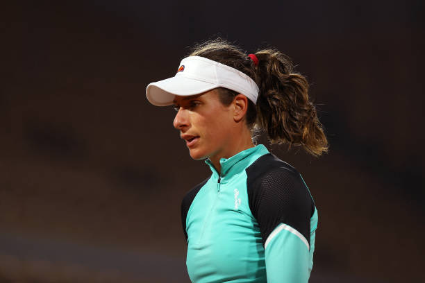 Johanna Konta of Great Britain looks on during her Women's Singles first round match against Cori Gauff of The United States of America during day...
