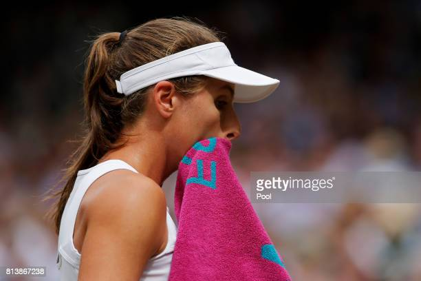 Johanna Konta of Great Britain looks thoughtful during the Ladies Singles semi final match against Venus Williams of The United States on day ten of...