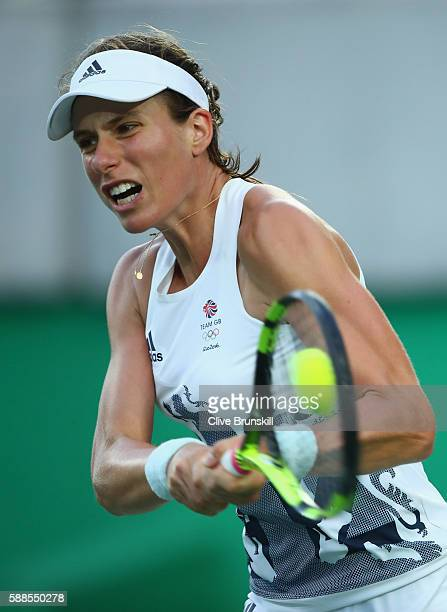 Johanna Konta of Great Britain plays a backhand during the women's singles quarterfinal match against Angelique Kerber of Germany on Day 6 of the...