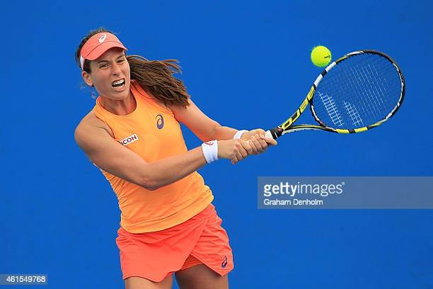 Johanna Konta of Great Britain plays a backhand in her qualifying match against Anna Tatishvili of the United States for the 2015 Australian Open at...