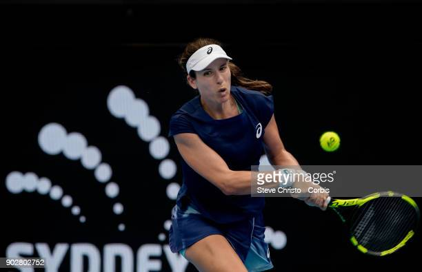 Johanna Konta of Great Britain plays a backhand in her second round match against Agnieszka Radwanska during day three of the 2018 Sydney...