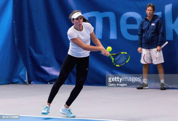 Johanna Konta of Great Britain plays a backhand shot during the Great Britain Training session ahead of the Davis Cup by BNP Paribas Europe/Africa...
