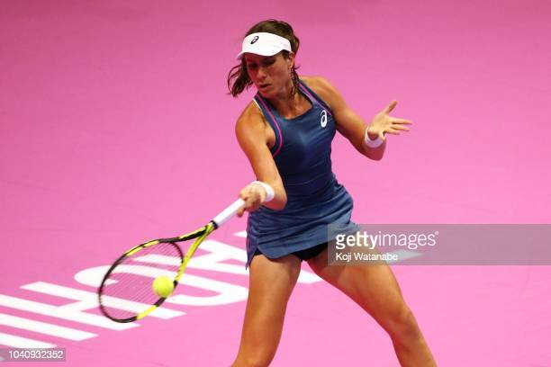 Johanna Konta of Great Britain plays a forehand against Donna Vekic of Croatia in her Singles Round of 16 match on day four of the Toray Pan Pacific...