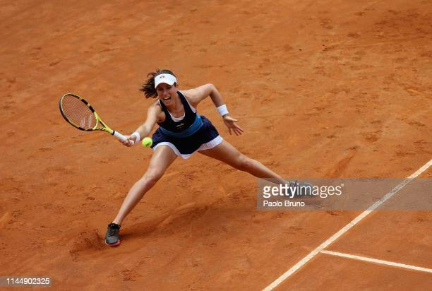 Johanna Konta of Great Britain plays a forehand against Karolina Pliskova of Czech Republic in their Women's singles final match during Day eight of...