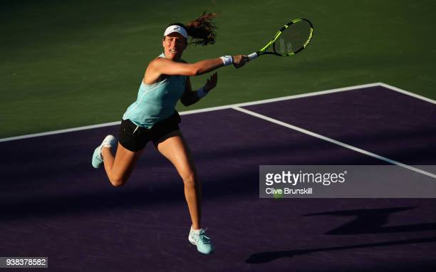 Johanna Konta of Great Britain plays a forehand against Venus Williams of the United States in their fourth round match during the Miami Open...