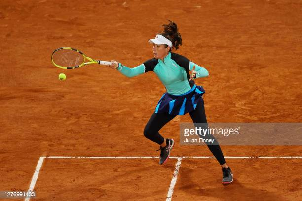 Johanna Konta of Great Britain plays a forehand during her Women's Singles first round match against Cori Gauff of The United States of America...