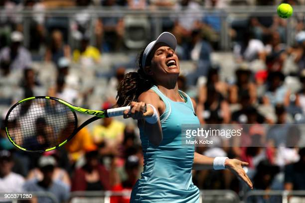 Johanna Konta of Great Britain plays a forehand in her first round match against Madison Brengle of the United States on day two of the 2018...
