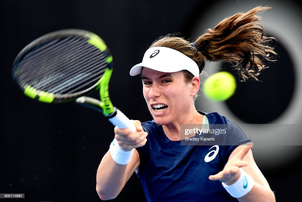Johanna Konta of Great Britain plays a forehand in her match against Madison Keys of USA during day two of the 2018 Brisbane International at Pat Rafter Arena on January 1, 2018 in Brisbane, Australia.