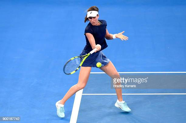 Johanna Konta of Great Britain plays a forehand in her match against Madison Keys of USA during day two of the 2018 Brisbane International at Pat...