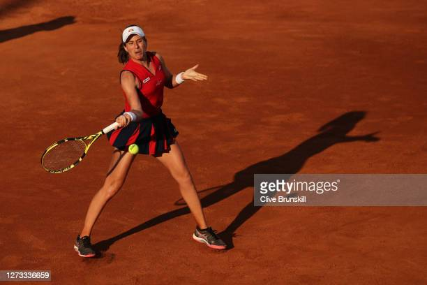 Johanna Konta of Great Britain plays a forehand in her round three match against Garbine Muguruza of Spain during day five of the Internazionali BNL...