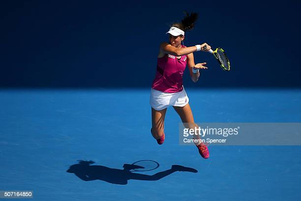 Johanna Konta of Great Britain plays a forehand in her semi final match against Angelique Kerber of Germany during day 11 of the 2016 Australian Open...