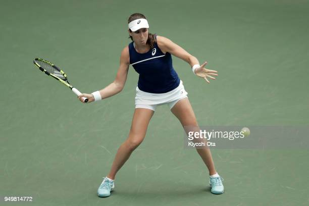 Johanna Konta of Great Britain plays a forehand in her singles match against Naomi Osaka of Japan during day two of the Fed Cup World Group II...