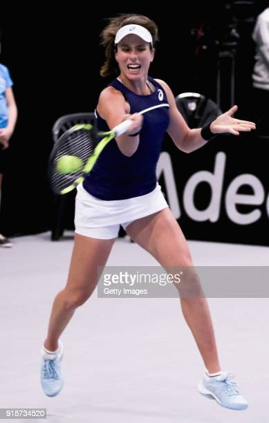 Johanna Konta of Great Britain plays a forehand shot during the Davis Cup by BNP Paribas Europe/Africa Group B match against Maria Joao Koehler of...
