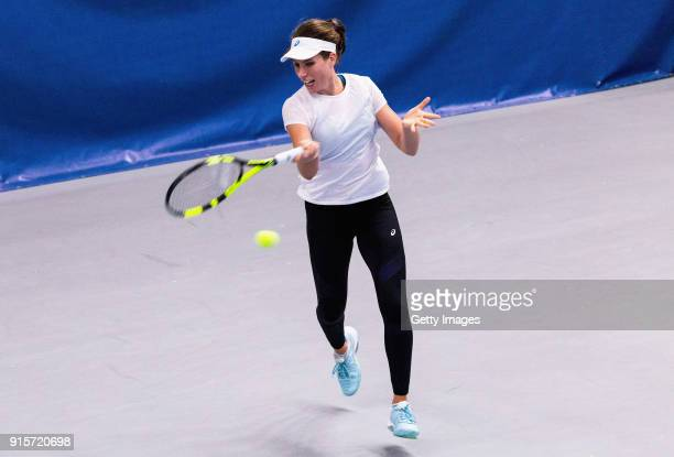 Johanna Konta of Great Britain plays a forehand shot during the Great Britain Training session ahead of the Davis Cup by BNP Paribas Europe/Africa...