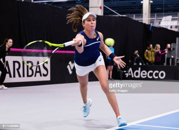 Johanna Konta of Great Britain plays a forehand shot during the Europe/Africa Promotional PlayOff Semi Final match of the Fed Cup by BNP Paribas...